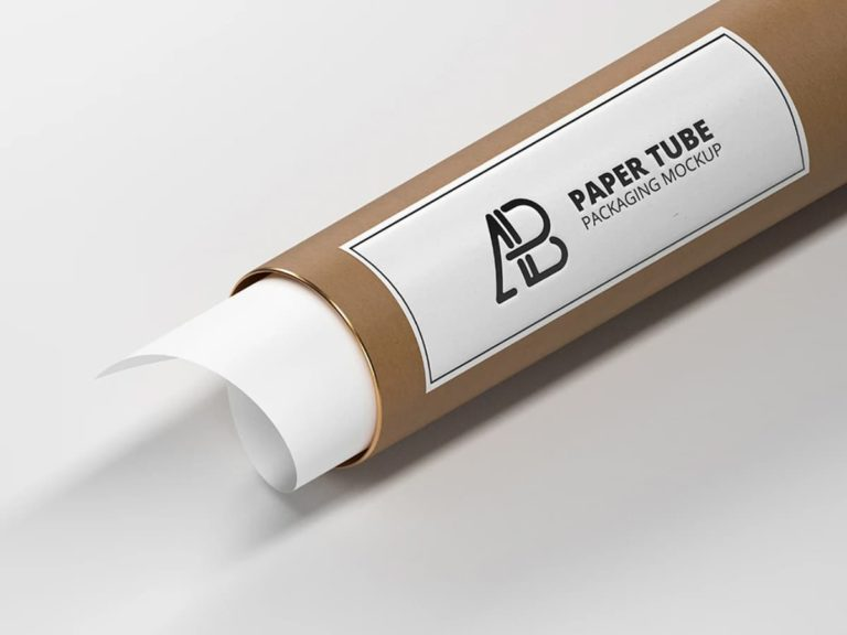 Free Paper Tube Label Packaging Mockup PSD Template