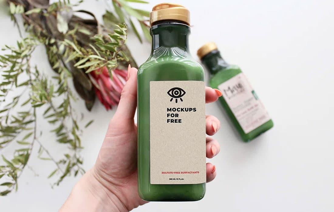 Free Green Bottle PSD Mockup