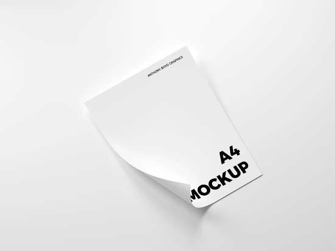 Folded A4 Paper Free PSD Mockup