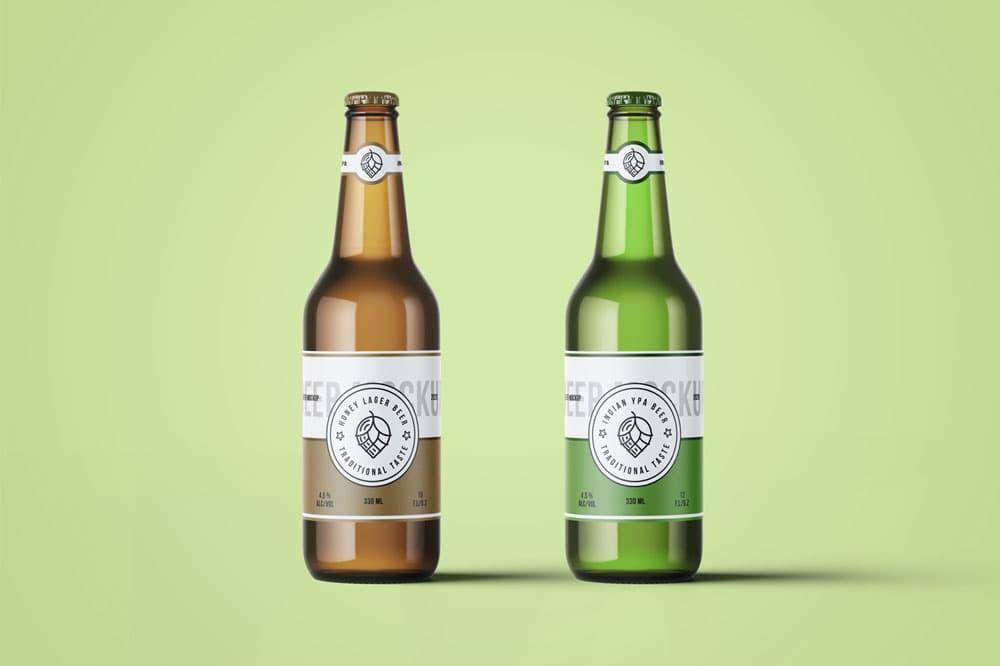 Free Beer Bottles PSD Mockup