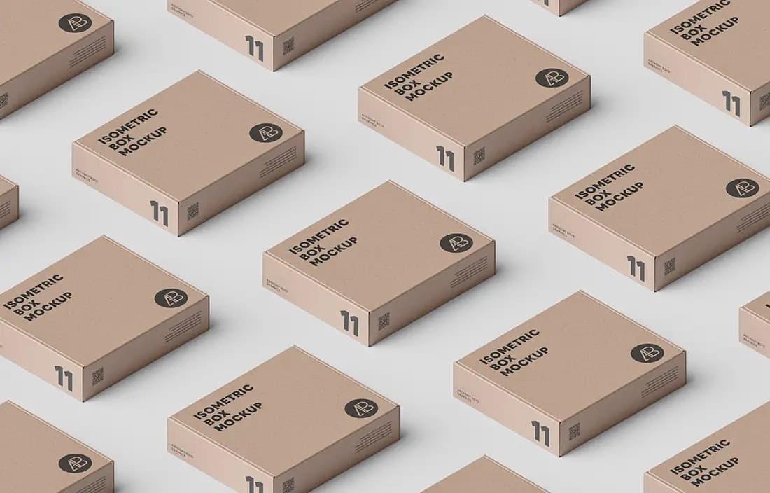 Free Box Grid PSD Mockup