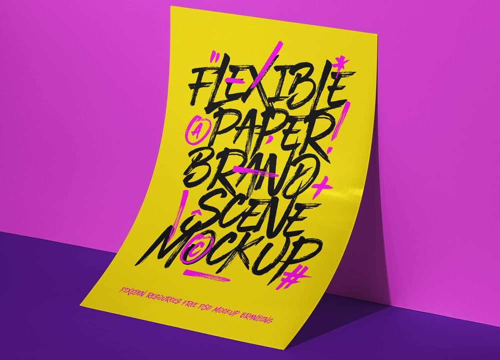 Free Brand Poster Scene PSD Mockup