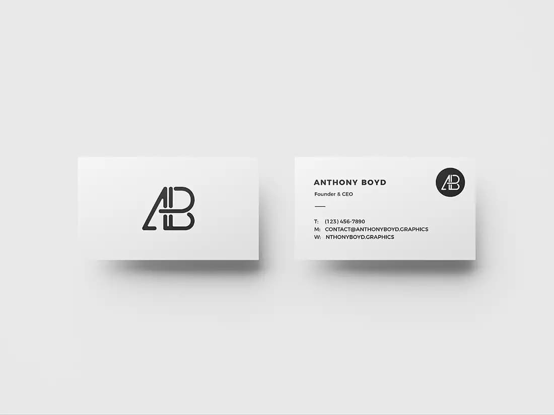 Free Business Card Top View PSD Mockup