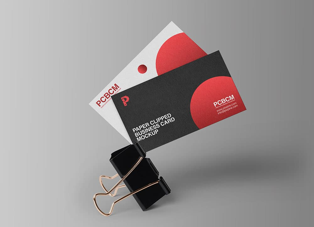 Free Clipped Business Card PSD Mockups