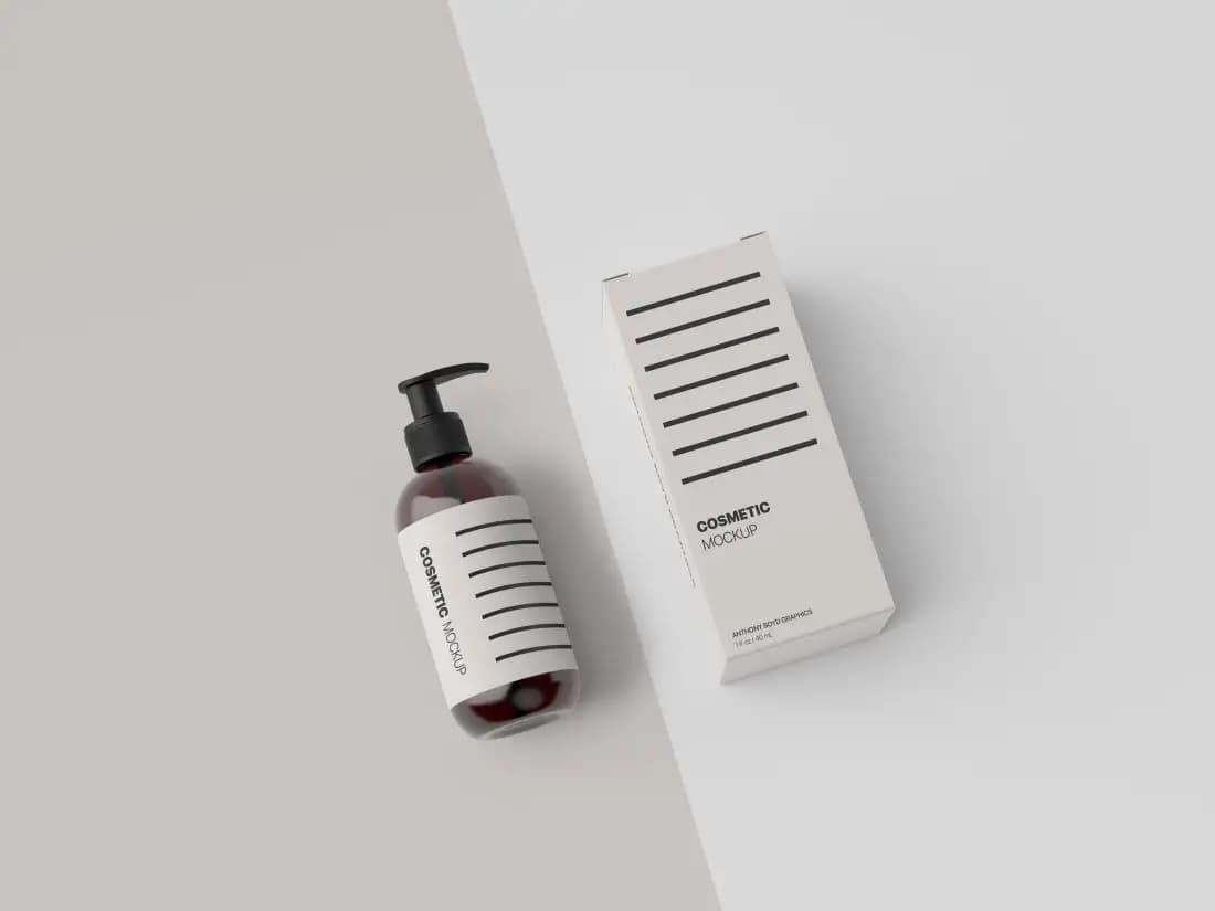 Free Cosmetic Bottle PSD Mockup