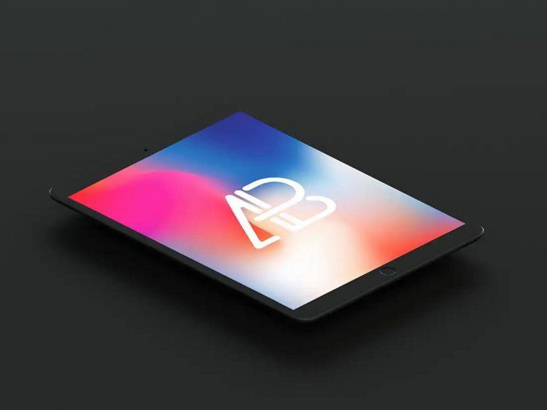 Free Isometric Matte Black iPad Pro PSD Mockup
