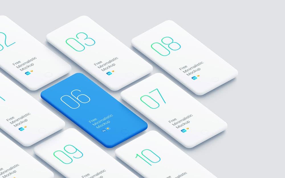 Free Minimalistic Smartphones PSD Mockup