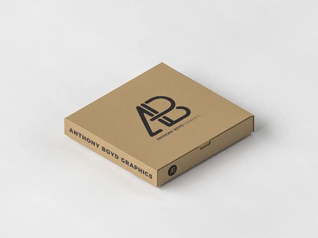 Free Pizza Box Packaging PSD Mockup