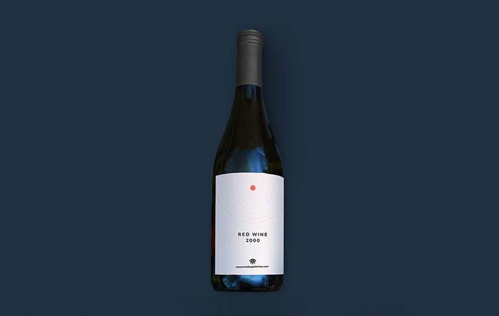 Free Red Wine Bottle PSD Mockup