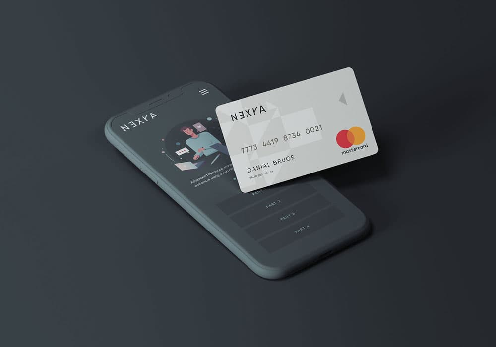 Free Smartphone with Credit Card PSD Mockup