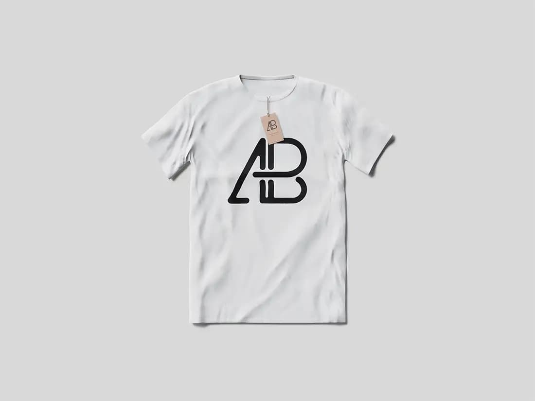 Free T-Shirt With Tag PSD Mockup