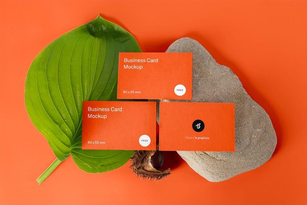 Free Three Business Cards PSD Mockup
