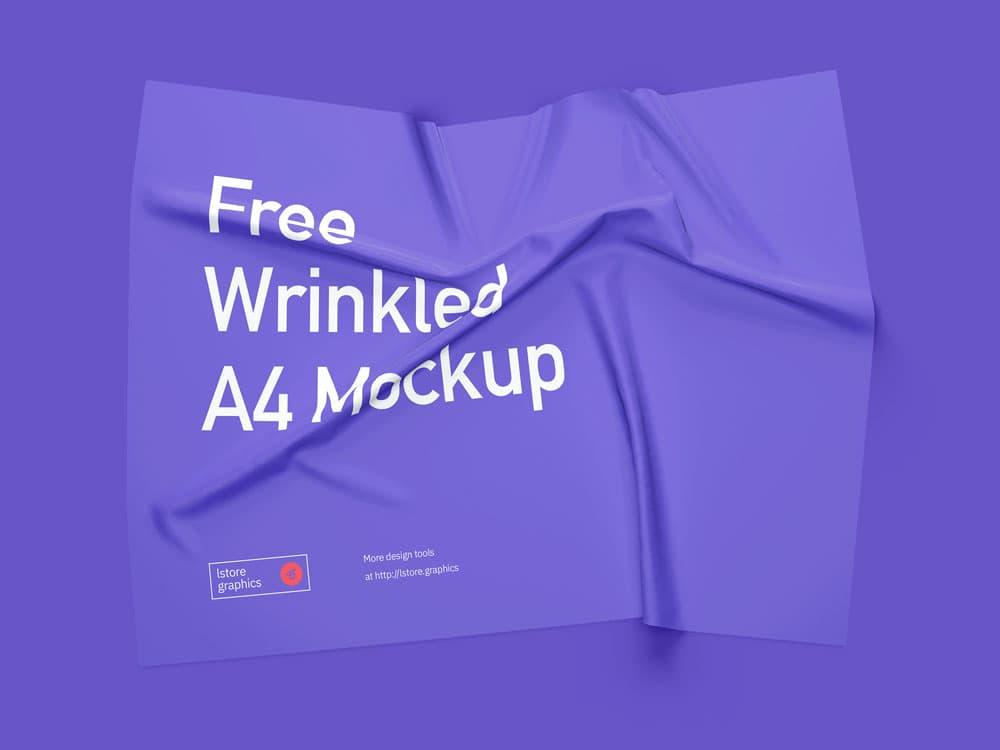 Free Transparent Wrinkled A4 PSD Mockup