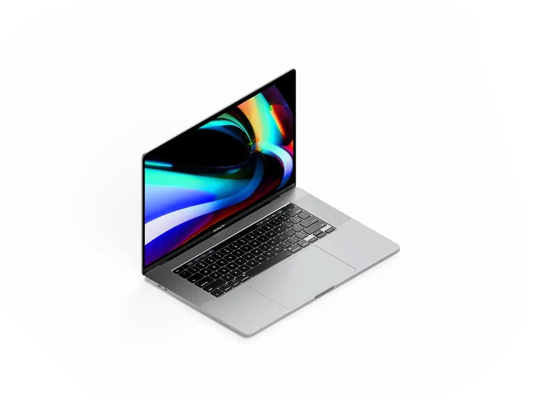 Isometric MacBook Pro 16 Inch Free Mockup