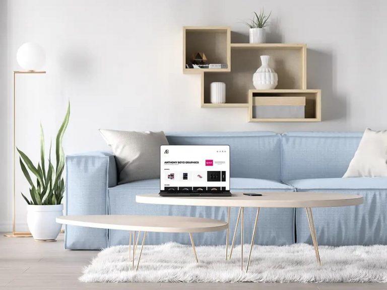 Free Bezel-Less MacBook Pro in Living Room PSD Mockup