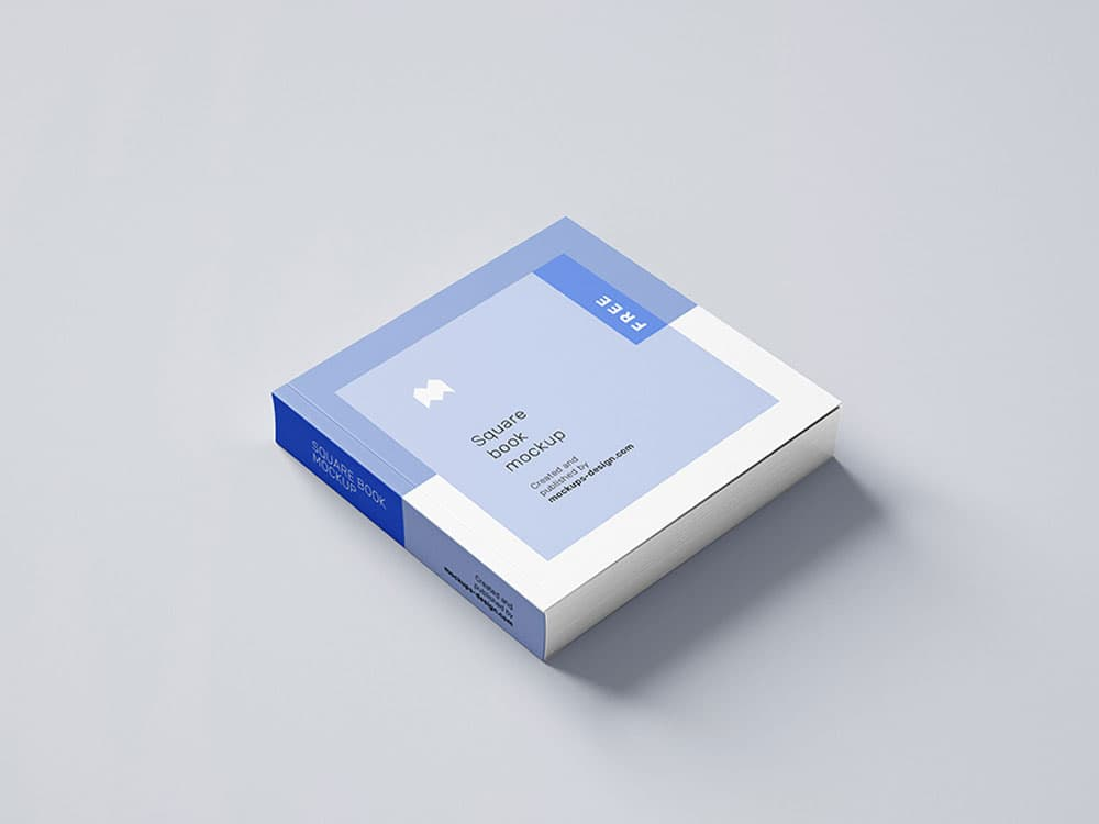 Free Big Square Book PSD Mockup