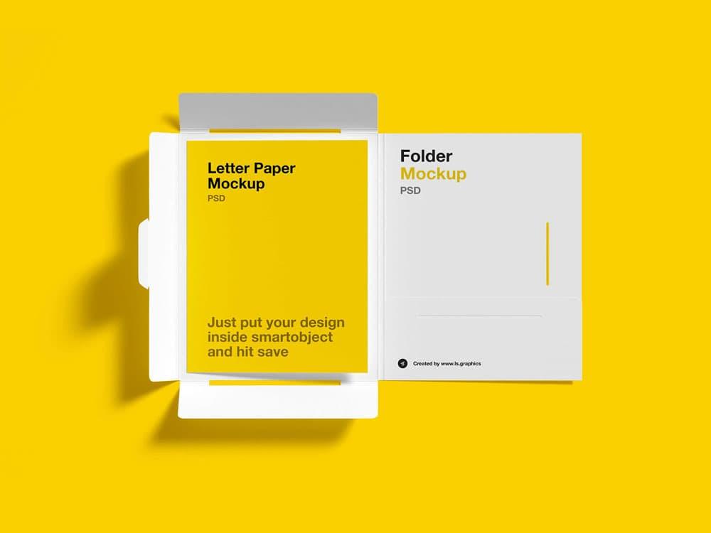 Free Brochure Folder Letter PSD Mockup