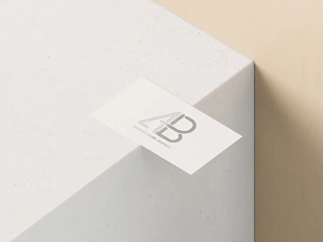 Free Business Card With Cutout PSD Mockup