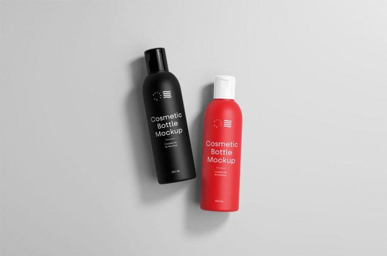 Free Cosmetic Bottles PSD Mockup