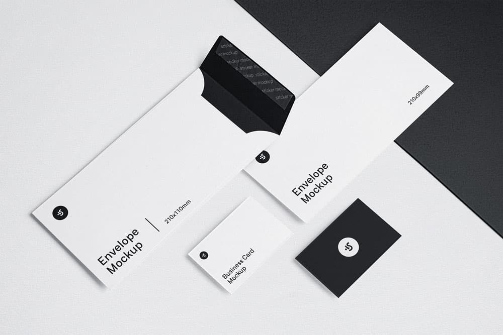 Free Envelope and Business Card PSD Mockups
