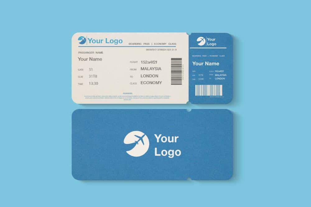 Free Flight Ticket PSD Mockup