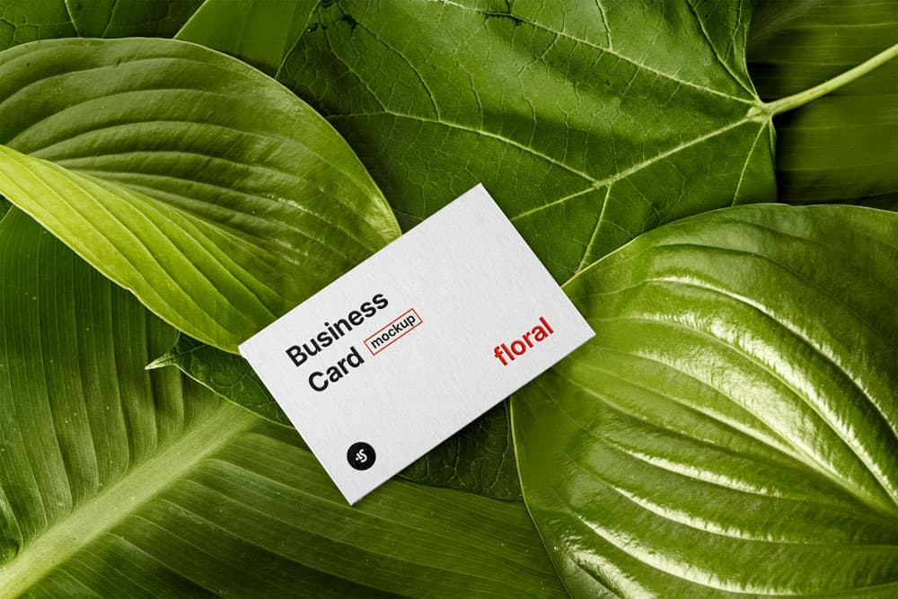 Free Floral Business Card PSD Mockup