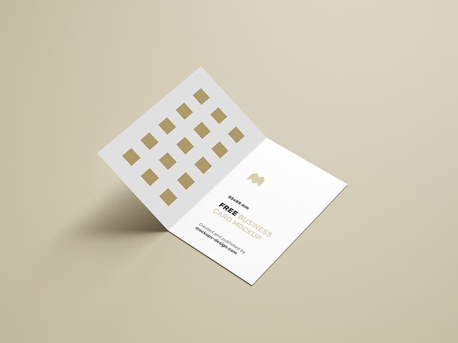 Free Folded Business Cards PSD Mockup