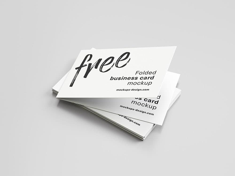 Free Folded Horizontal Business Card PSD Mockup