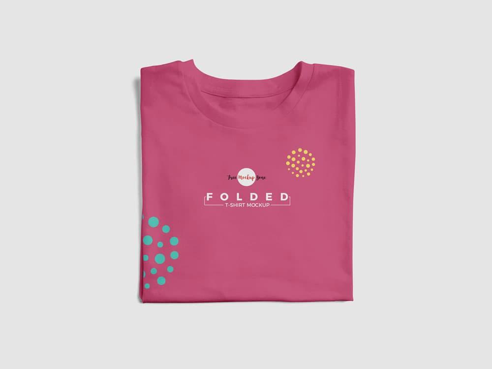 Free Folded T-Shirt PSD Mockup