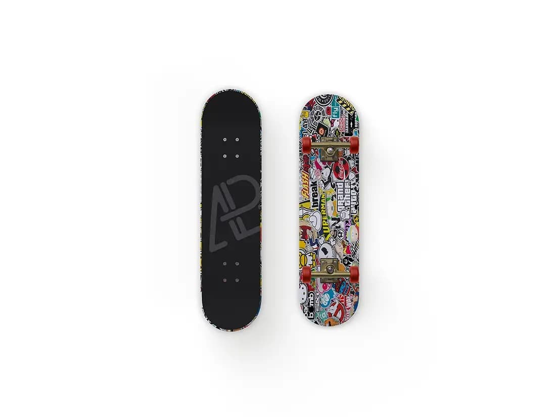 Free Front and Back Customizable Skateboard PSD Mockup