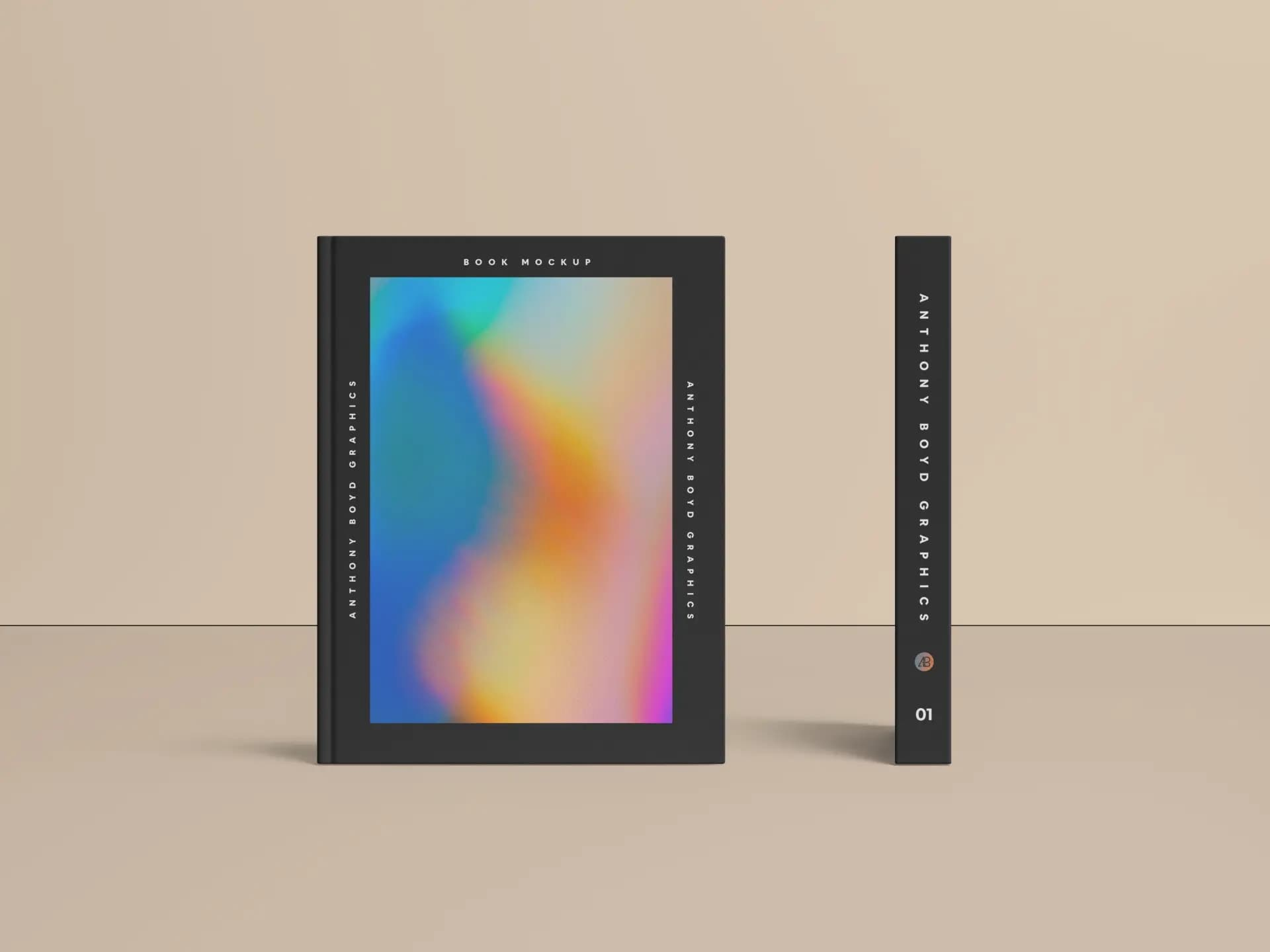 Free Front and Side View Book Cover PSD Mockup