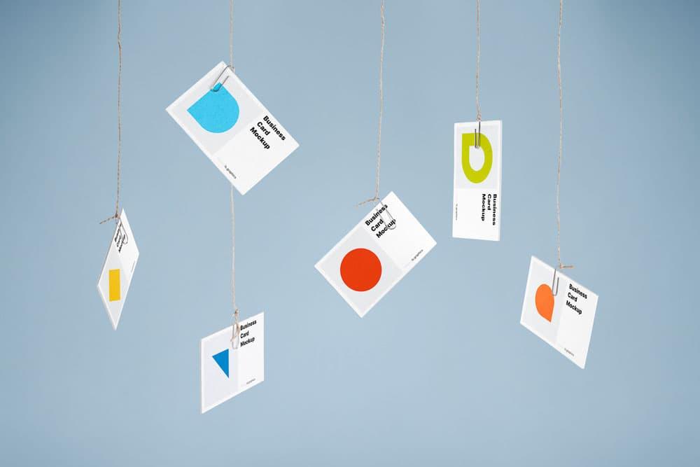 Free Hanging Business Card PSD Mockup