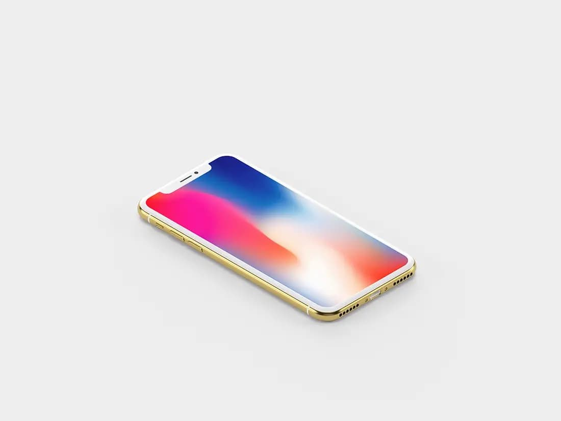 Free Isometric Gold iPhone X PSD Mockup