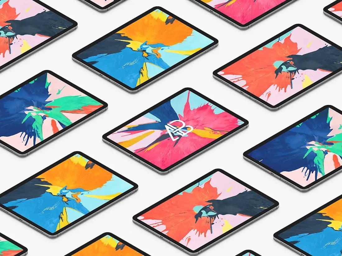 Free Isometric iPad Pro PSD Mockup