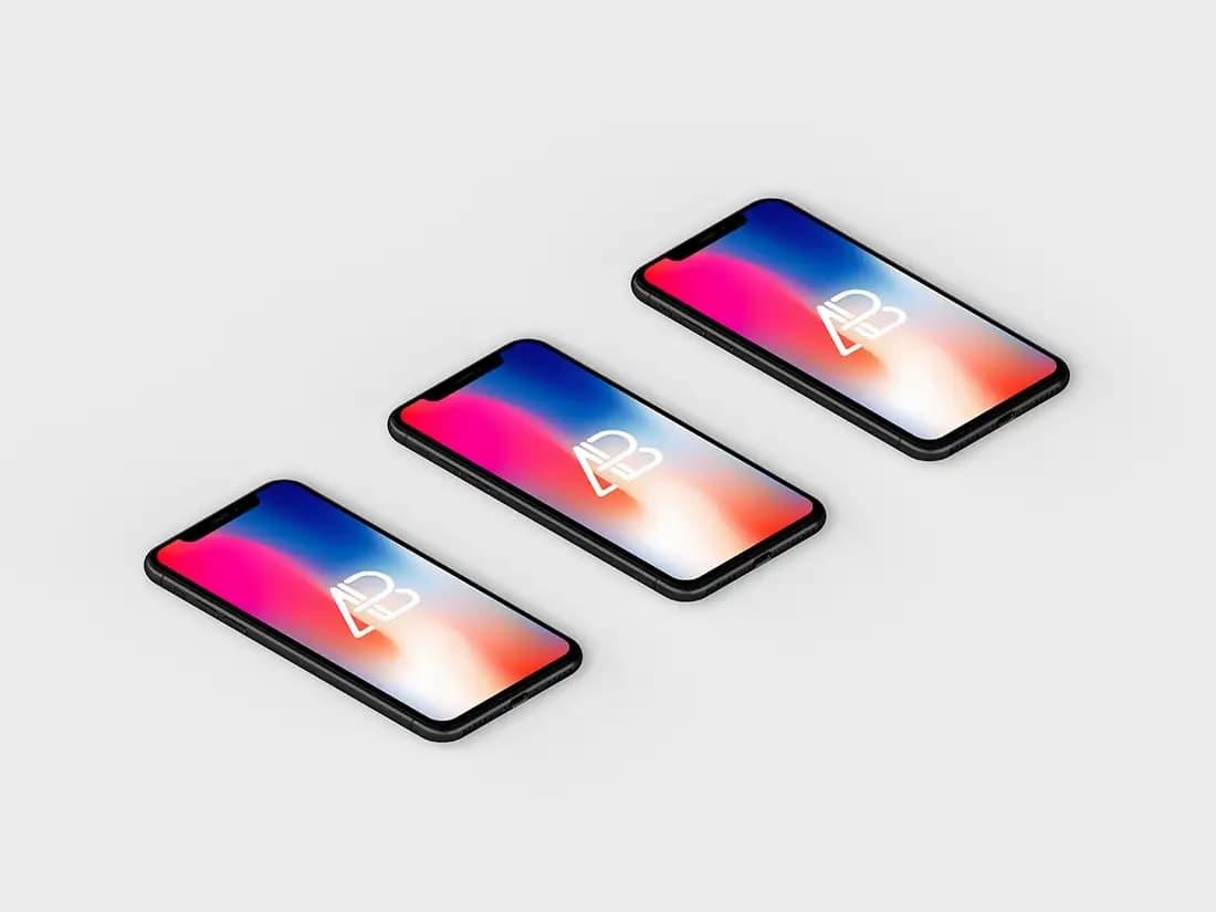 Free Isometric iPhone X PSD Mockup
