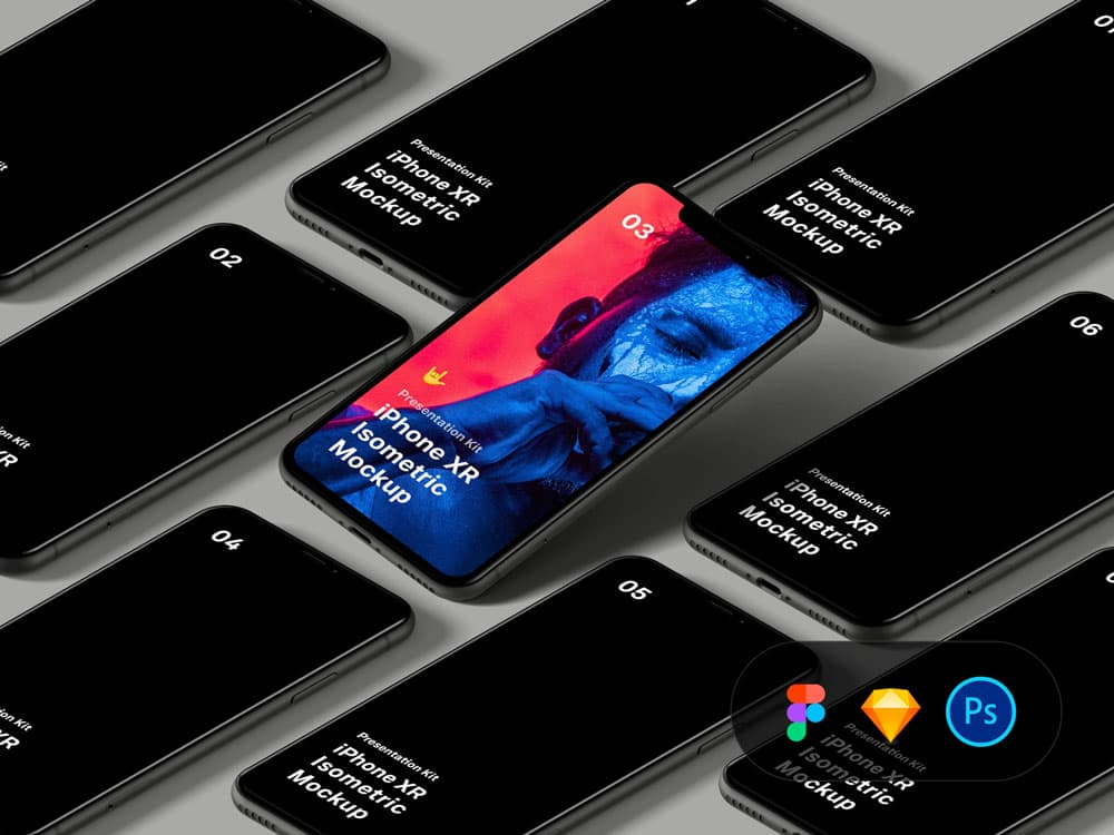 Free Isometric iPhone XR PSD Mockups
