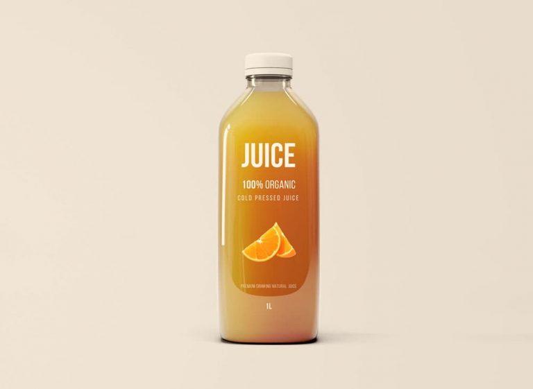 Free Juice Glass Bottle PSD Mockup