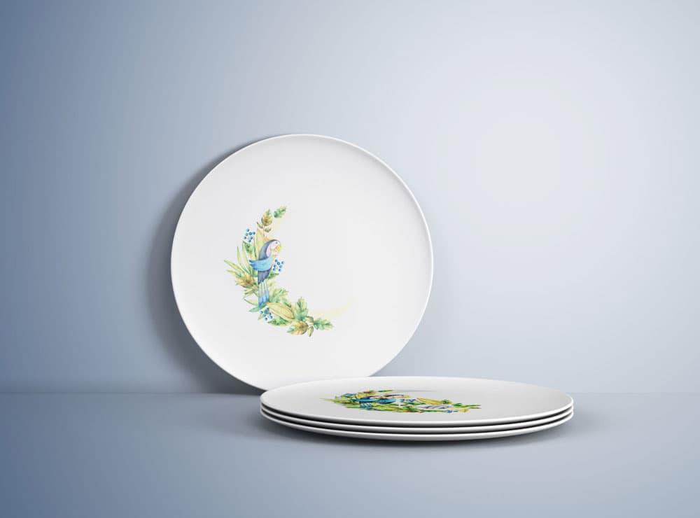 Free Kitchen Plates PSD Mockup