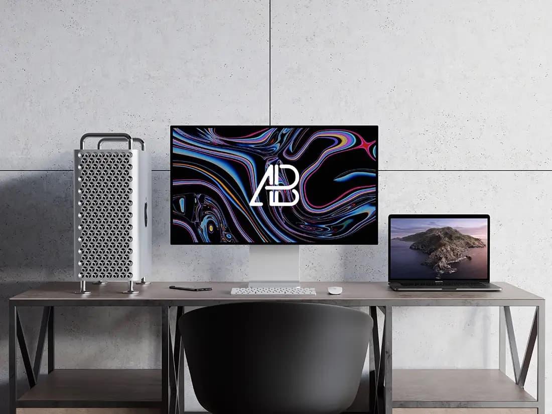 Free Mac Pro and MacBook Pro PSD Mockup