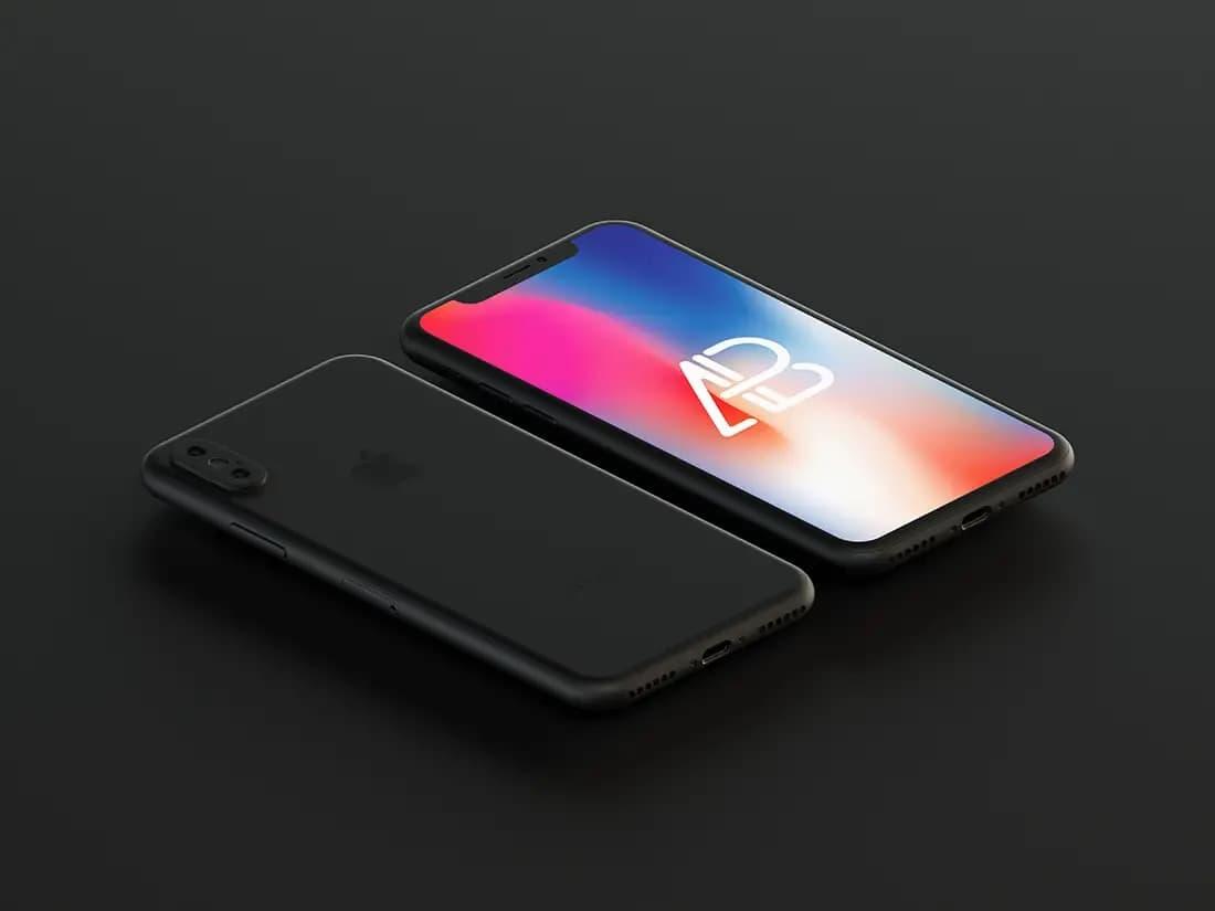 Free Matte Black iPhone X PSD Mockup