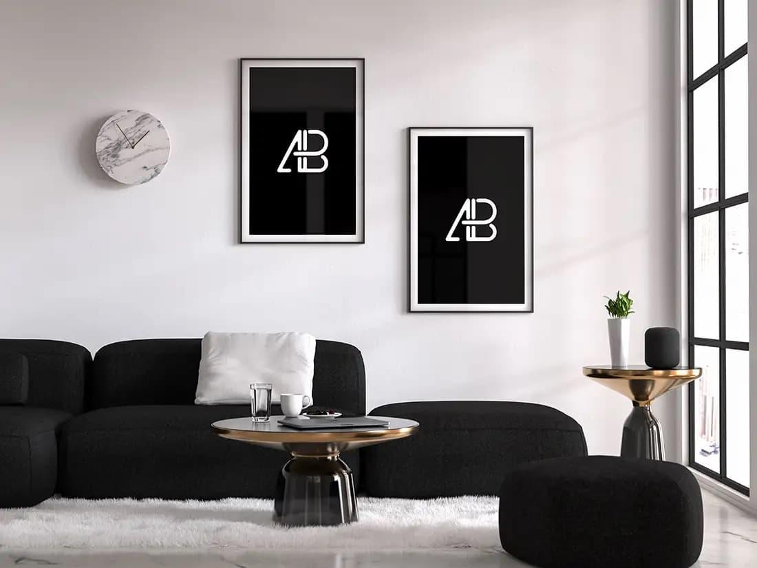 Free Modern Double Poster PSD Mockup