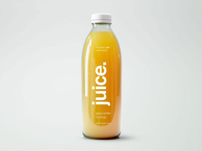 Free Orange Juice Bottle PSD Mockup