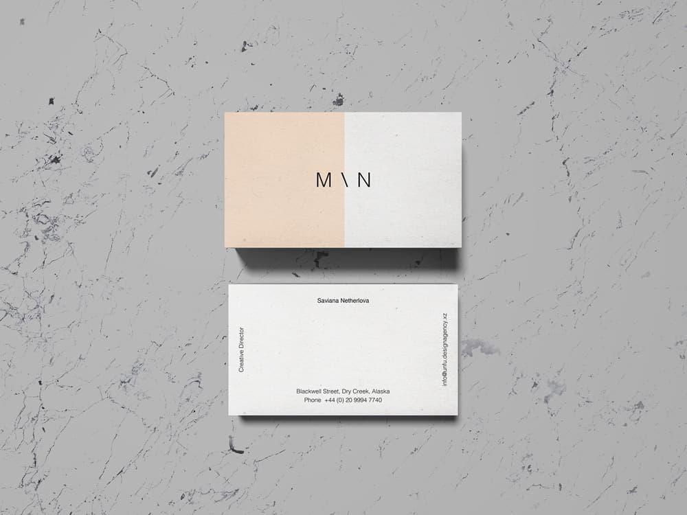 Free Overhead Business Card PSD Mockup