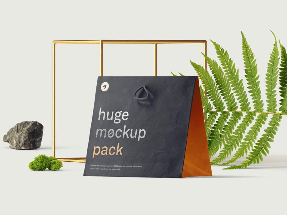 Free Paper Bag PSD Mockup Scene