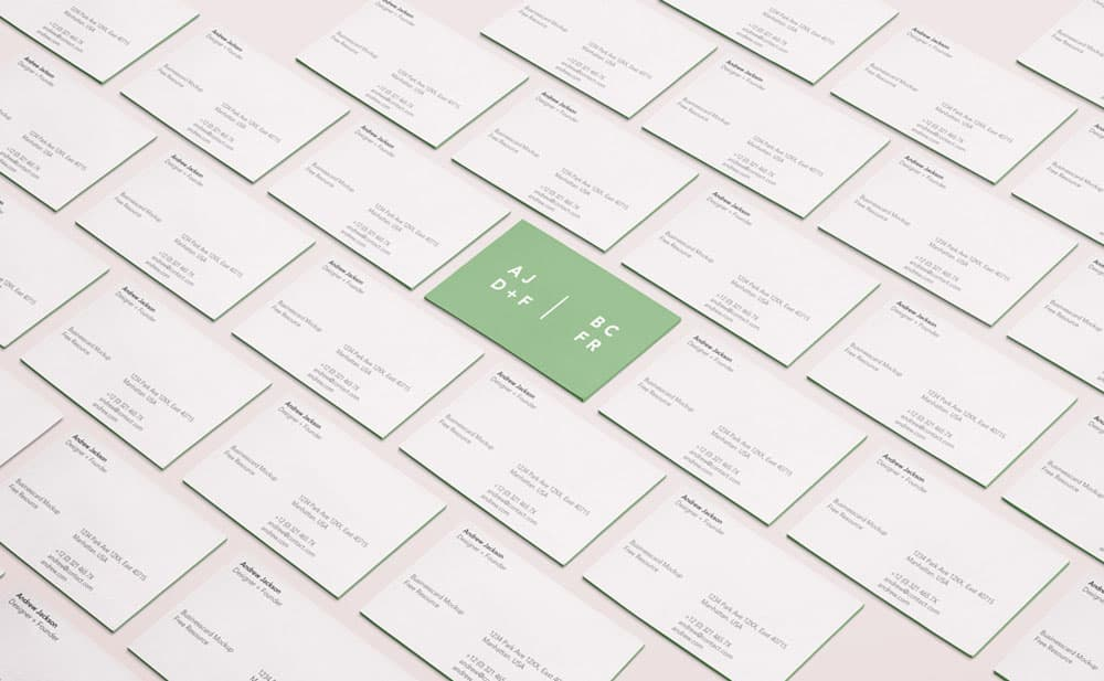 Free Perspective Business Cards PSD Mockup