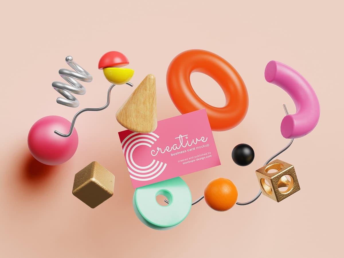 Free Playful Business Cards PSD Mockup