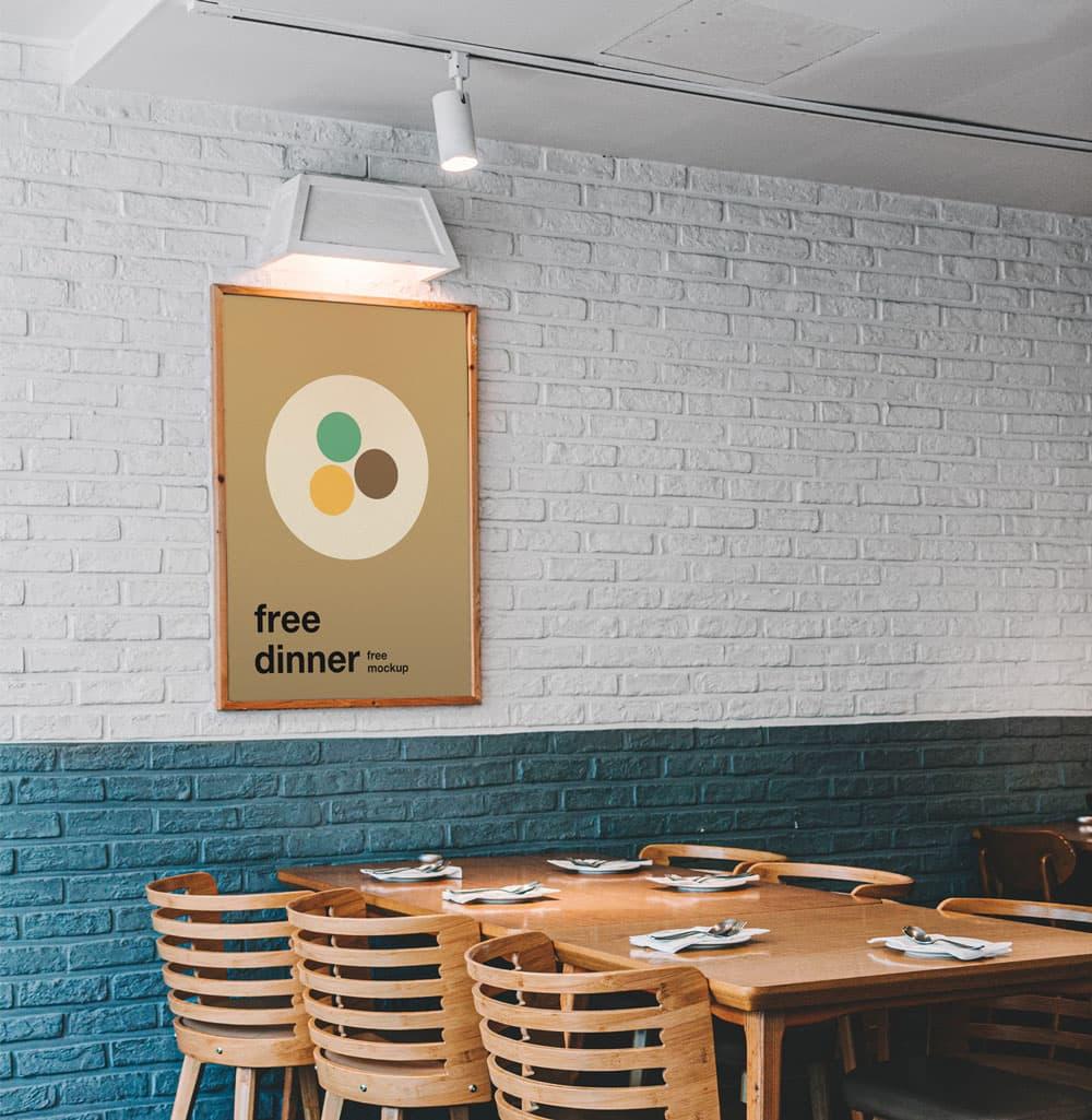 Free Poster in Restaurant PSD Mockup