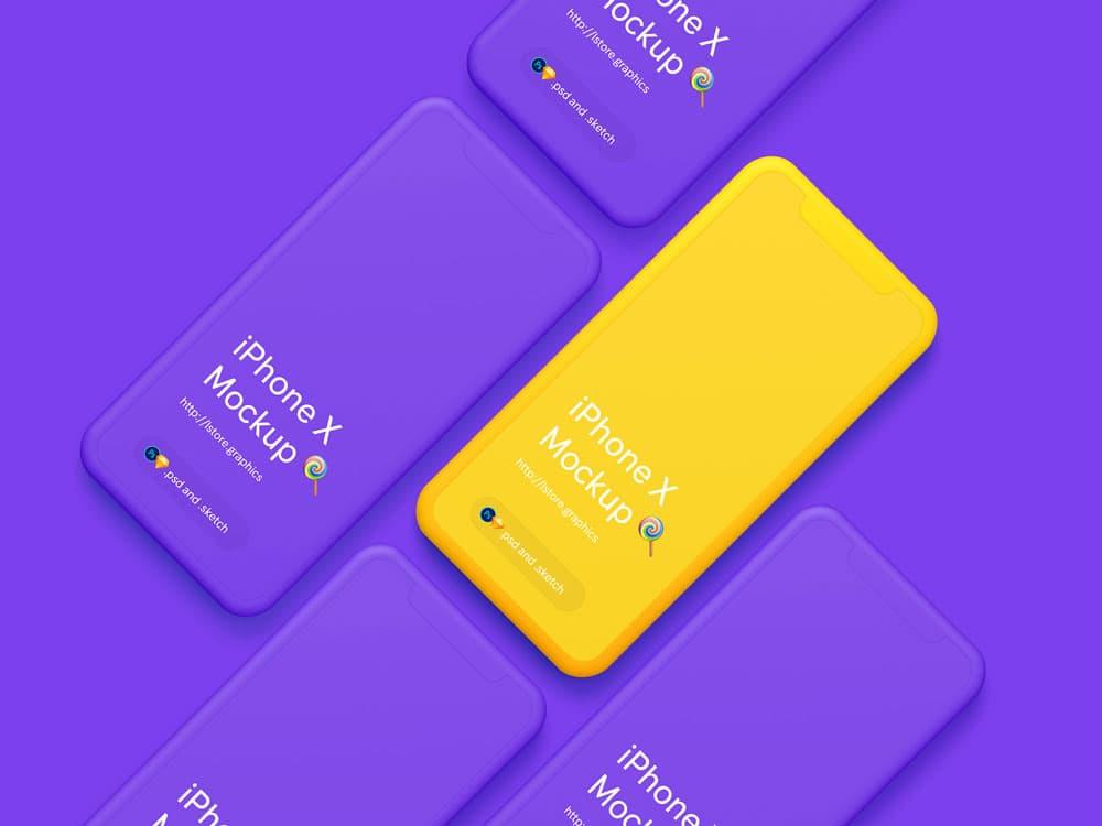 Free Simple iPhone X PSD Mockups