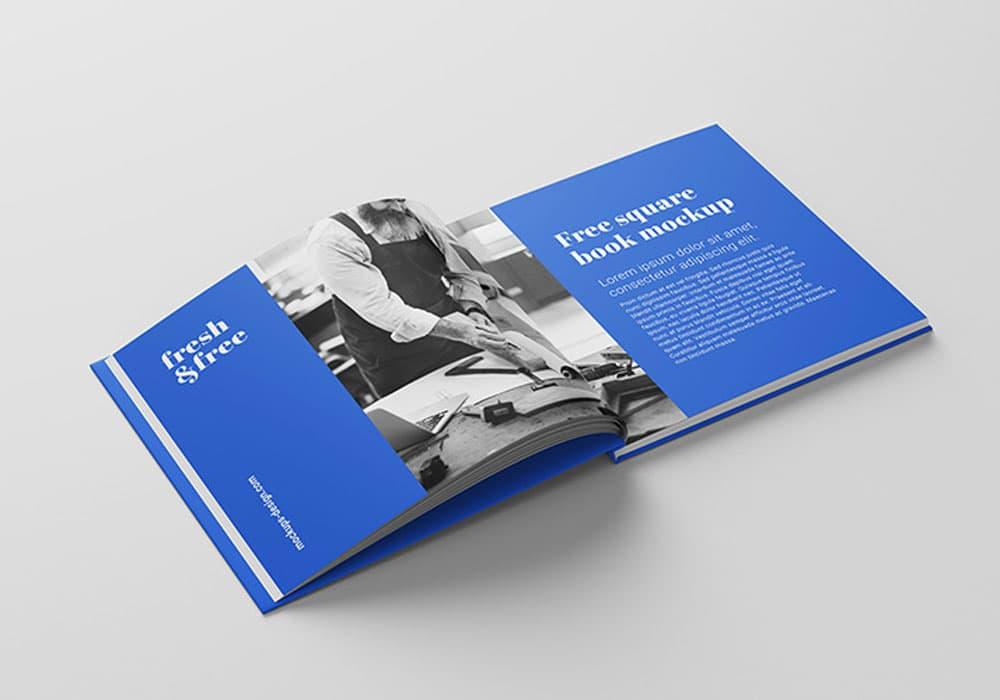 Free Square Book PSD Mockups