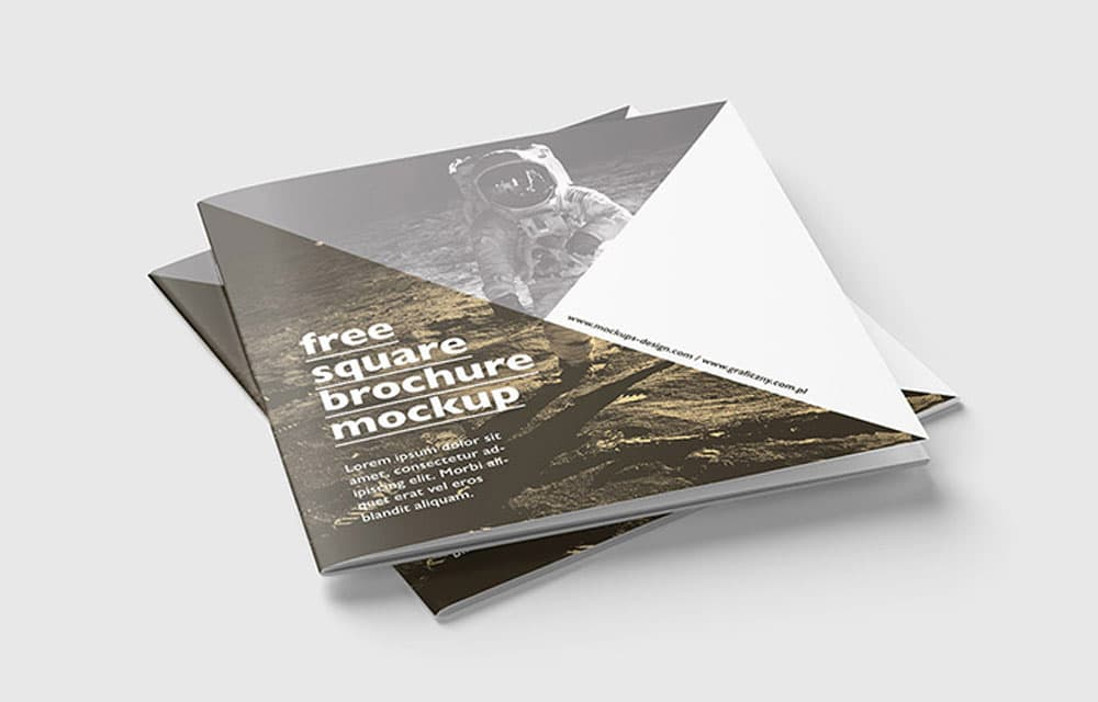 Free Square Brochure PSD Mockup
